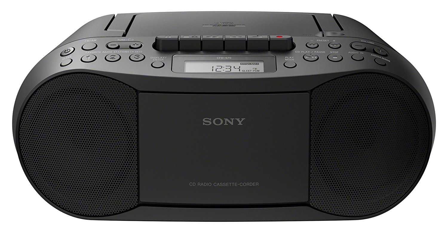 sony cfd s70 portable cd player cassette boombox with am fm tuner black b ebay. Black Bedroom Furniture Sets. Home Design Ideas