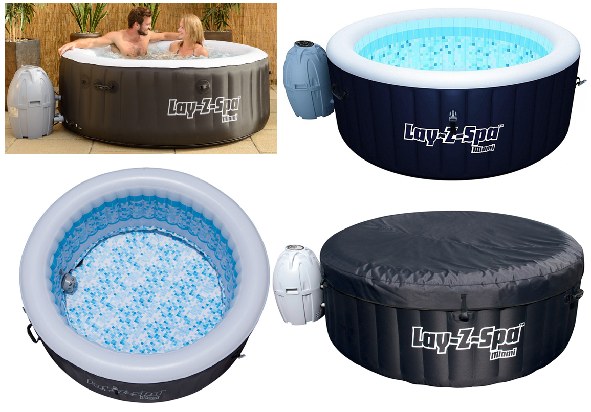 new bestway lay z spa miami round inflatable hot tub 2 4. Black Bedroom Furniture Sets. Home Design Ideas