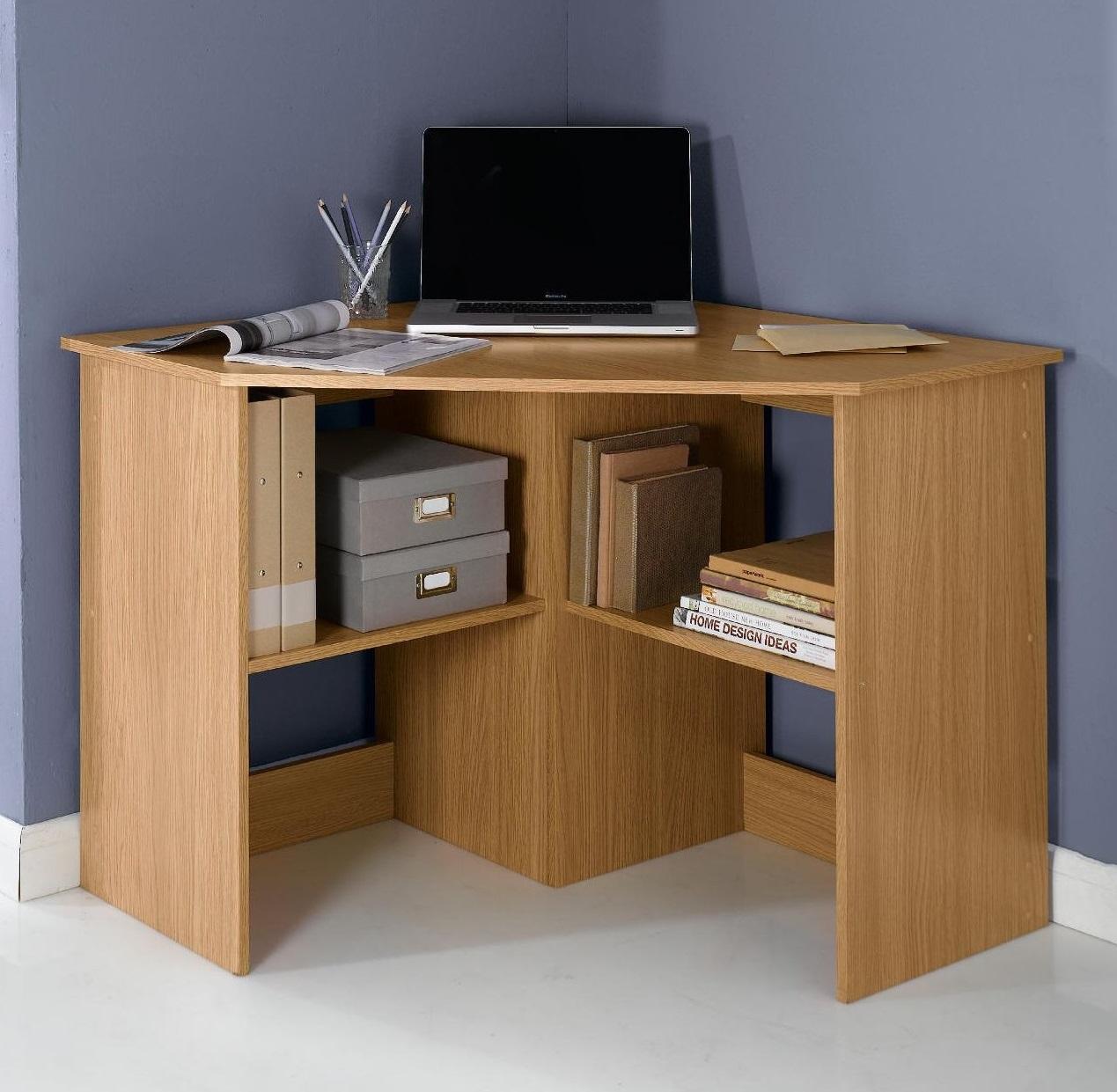 new fraser l shape corner computer desk with 2 shelves oak effect ebay. Black Bedroom Furniture Sets. Home Design Ideas