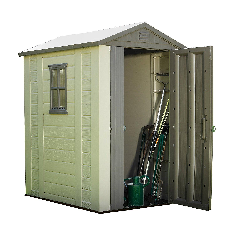 New keter factor resin outdoor garden storage shed 4ft x - Brown plastic garden sheds ...