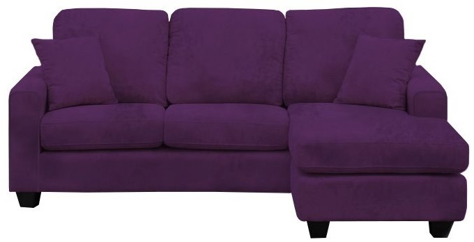 Ashley 3 seater suede effect fabric corner chaise sofa for Purple sectional sofa chaise