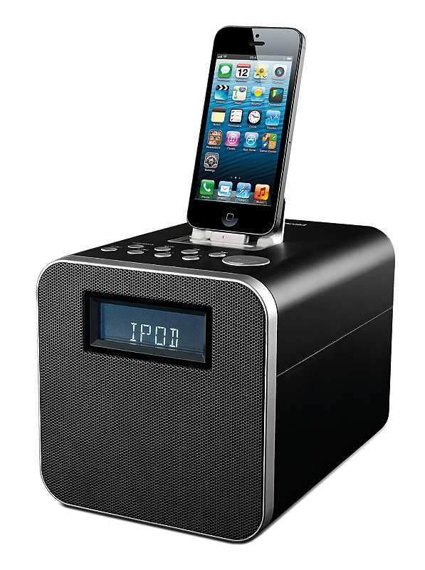 polaroid clock radio docking station with lightning connector for iphone 5 ebay. Black Bedroom Furniture Sets. Home Design Ideas