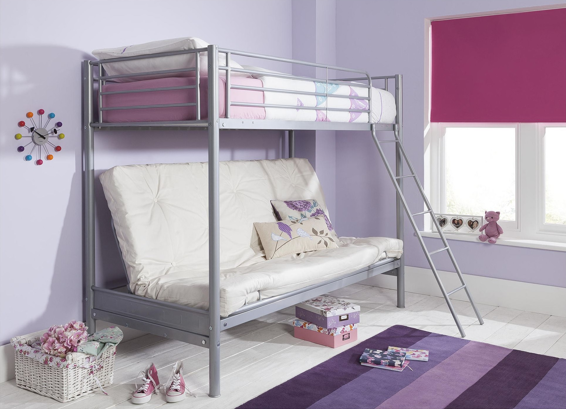 NEW Mika Single High Sleeper with Small Double Futon Bunk ...