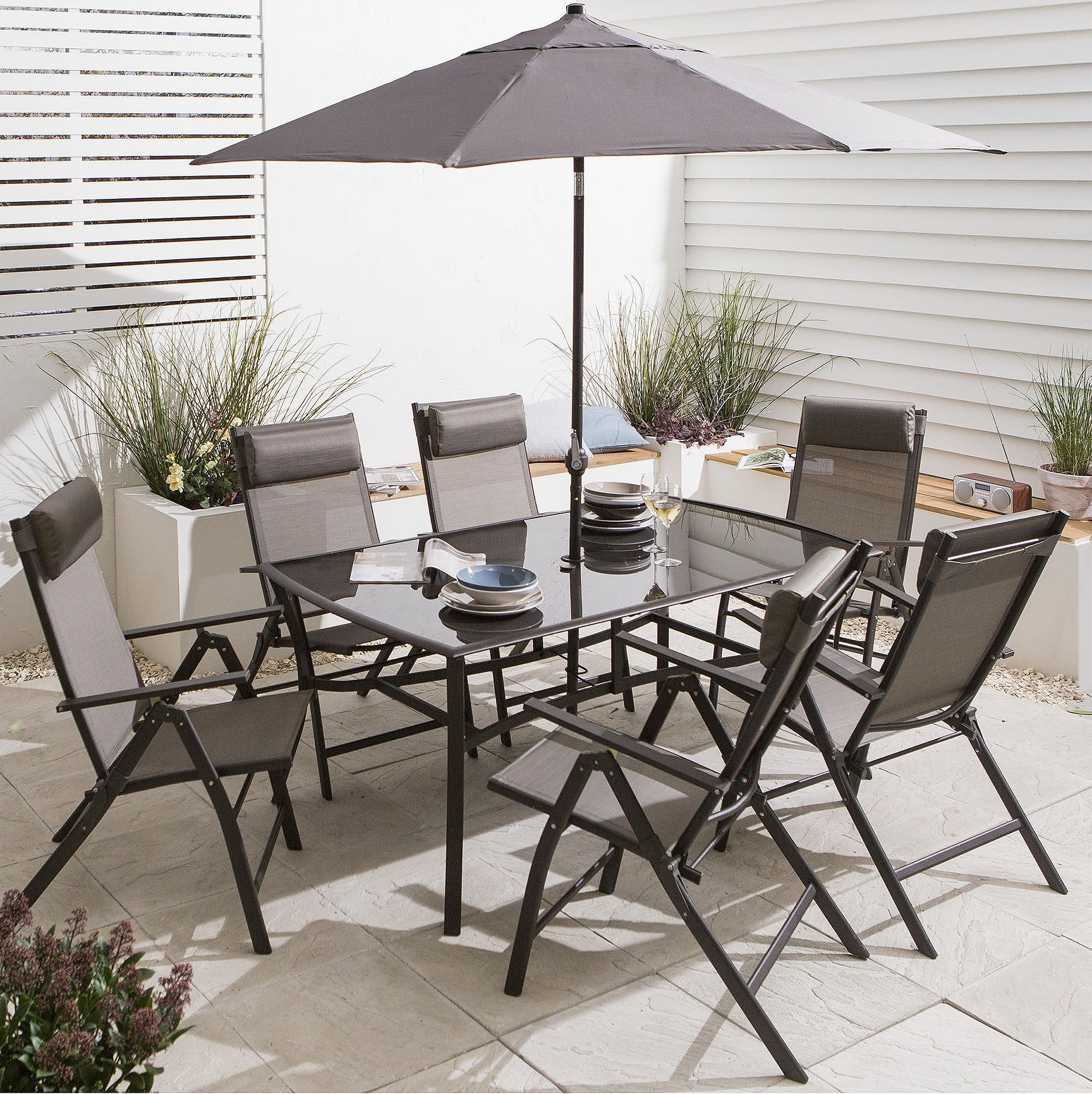 New Roma 8 Piece Metal Garden Furniture Set Table Parasol 6 Chairs Brown