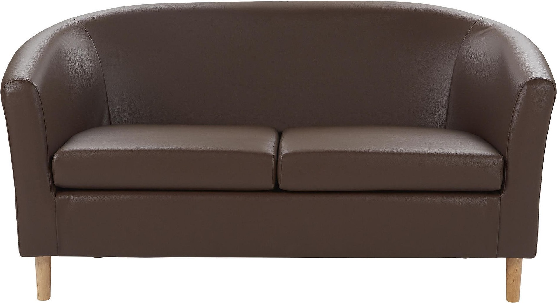 new modern faux leather 2 seater compact tub sofa chocolate. Black Bedroom Furniture Sets. Home Design Ideas