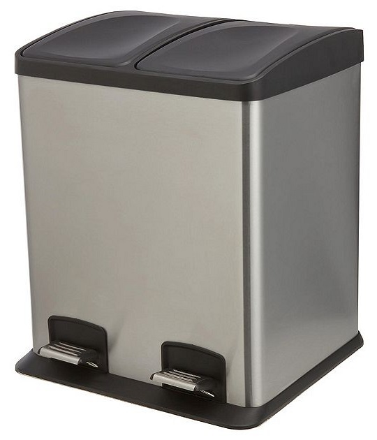 neuf tesco 24l 2 section recyclage p dale poubelle acier inoxydable ebay. Black Bedroom Furniture Sets. Home Design Ideas