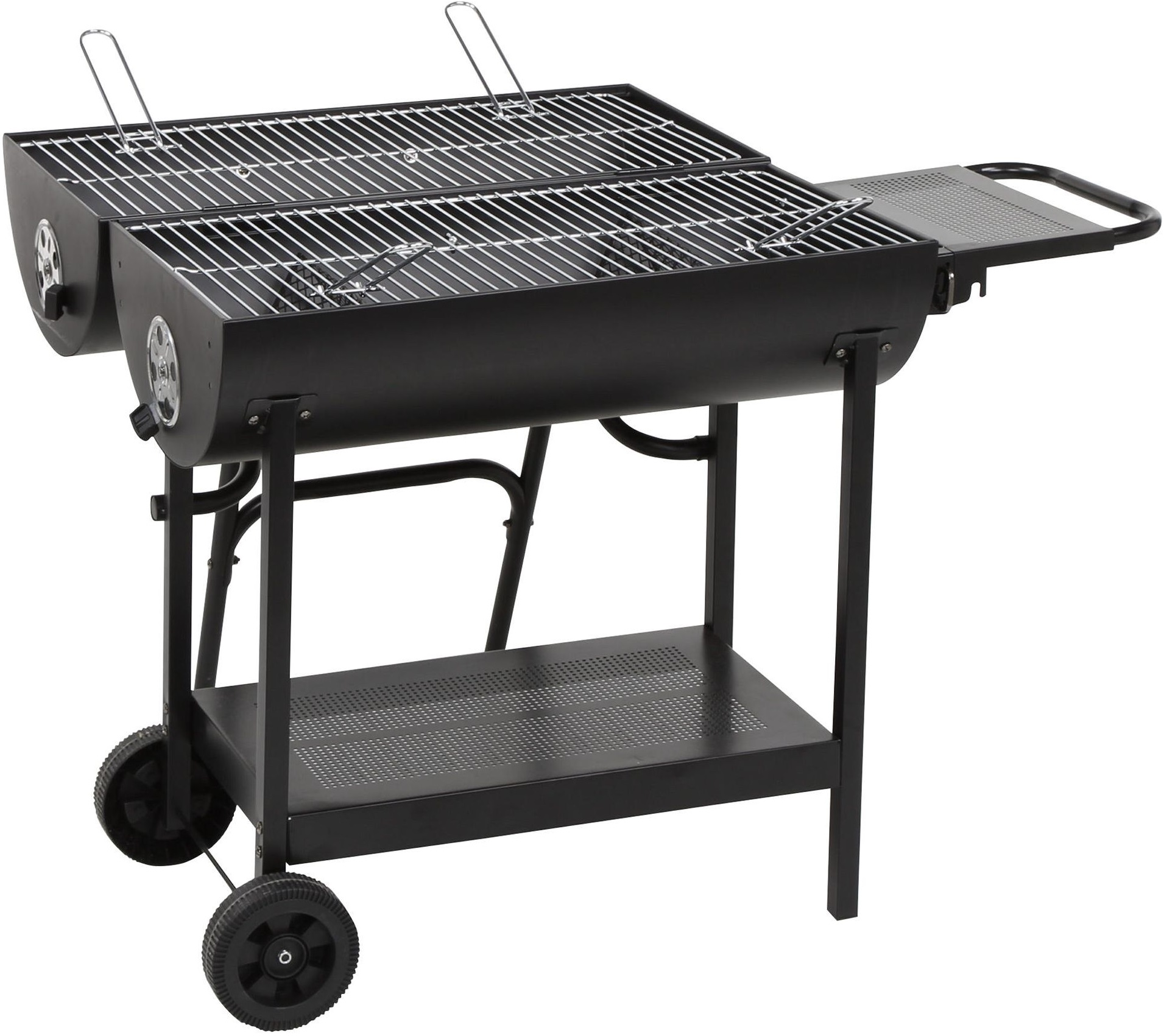 new tesco double sided oil drum bbq charcoal barbecue black. Black Bedroom Furniture Sets. Home Design Ideas