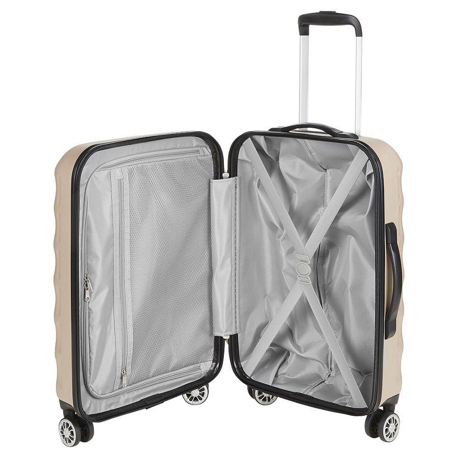 tesco 8 wheel hard shell champagne small suitcase a ebay. Black Bedroom Furniture Sets. Home Design Ideas