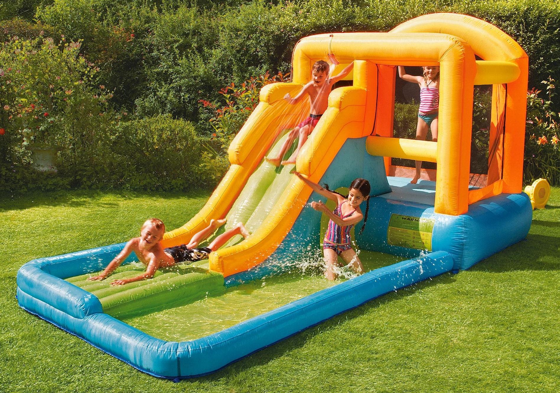 New tesco giant airflow water slide bouncy castle pool for Garden pool tesco