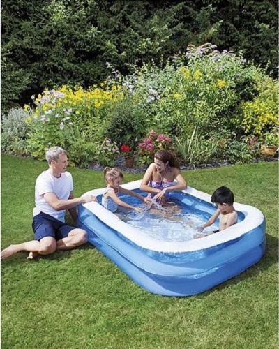 New tesco rectangular family sized inflatable paddling for Family paddling pool