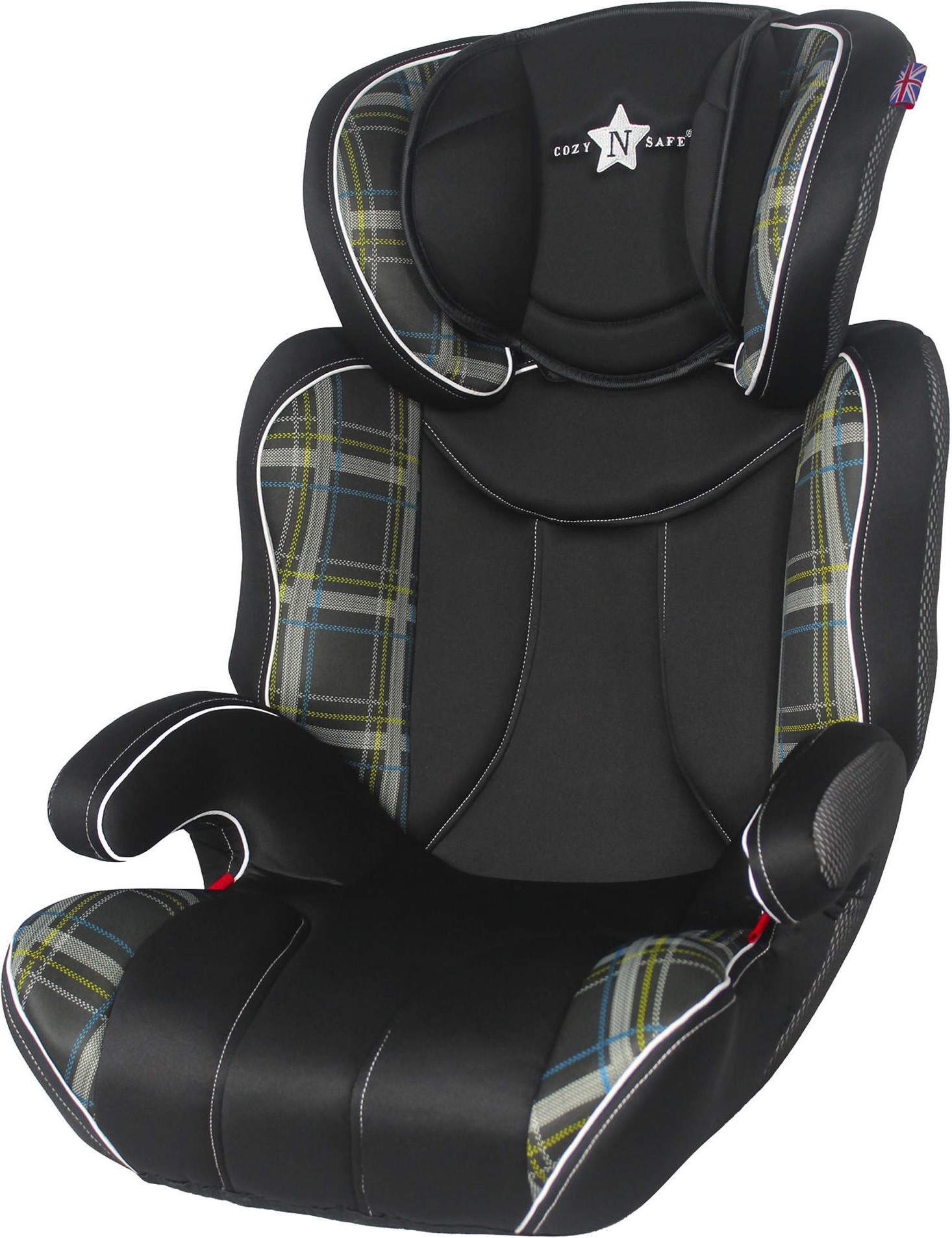 cozy n safe k2 high back booster car seat group 2 3 black check a ebay. Black Bedroom Furniture Sets. Home Design Ideas