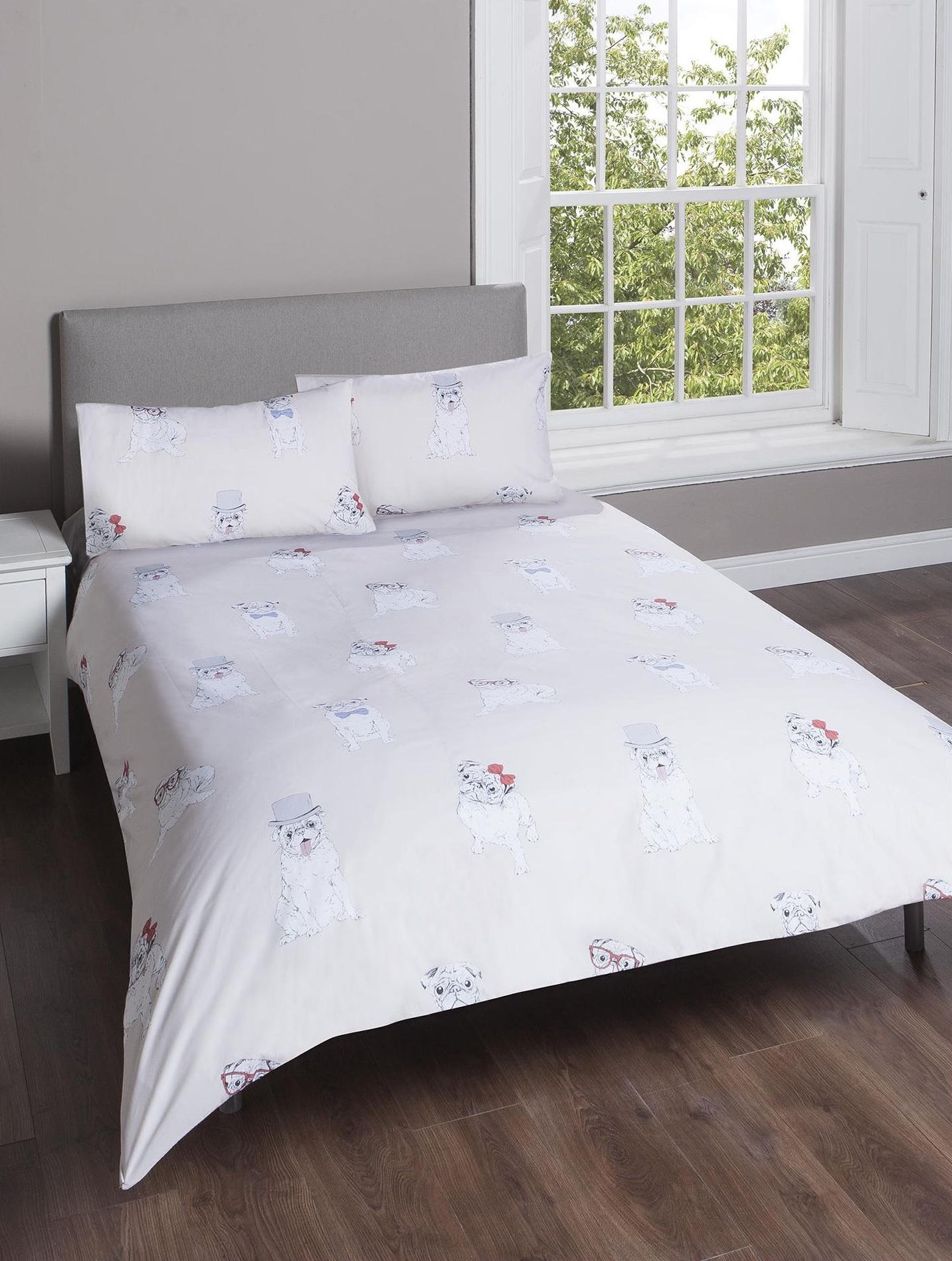 neu tesco king gro pug druck bettbezug kissenbezug set beige ebay. Black Bedroom Furniture Sets. Home Design Ideas