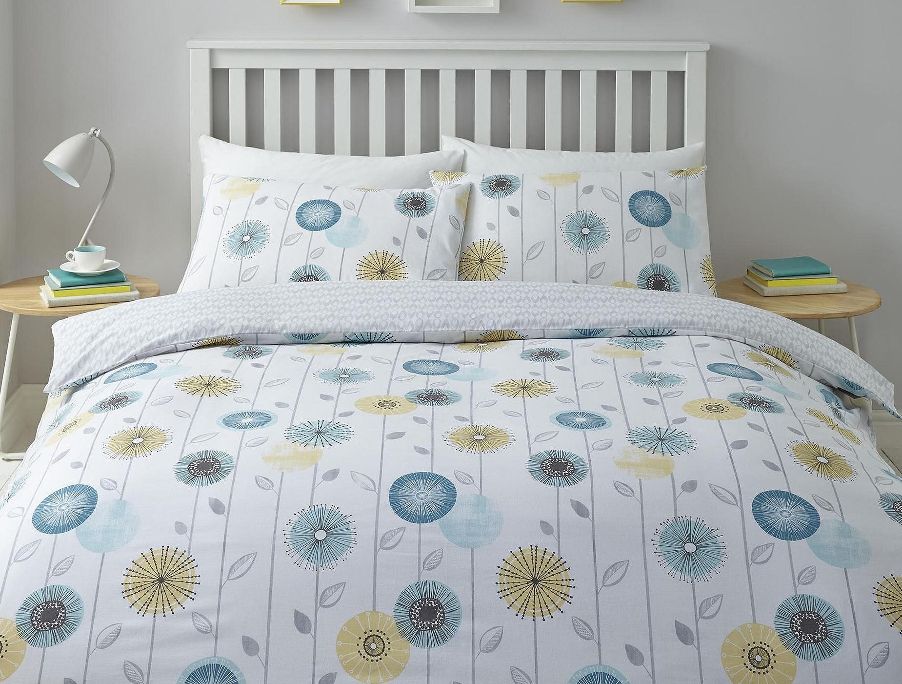 new tesco retro floral blue yellow duvet cover. Black Bedroom Furniture Sets. Home Design Ideas