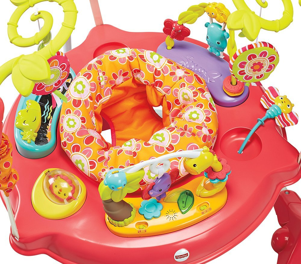 fisher price bl tenbl tter jumperoo baby acitivity zentrum wippe pink. Black Bedroom Furniture Sets. Home Design Ideas
