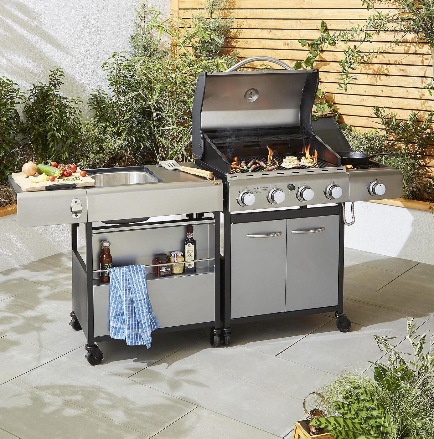 New tesco premium bbq add on unit outdoor kitchen sink for Outdoor bbq kitchen units
