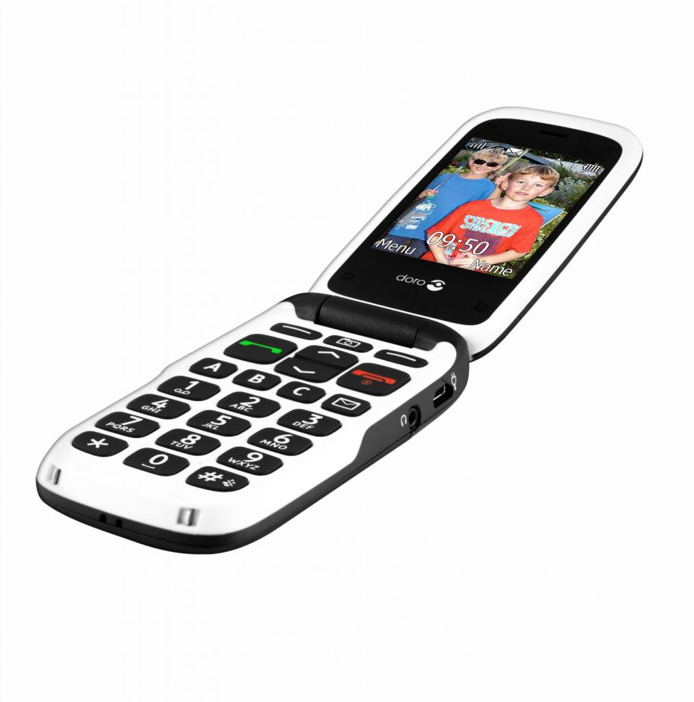 doro phoneeasy 612 flip mobile phone locked to ee black white. Black Bedroom Furniture Sets. Home Design Ideas