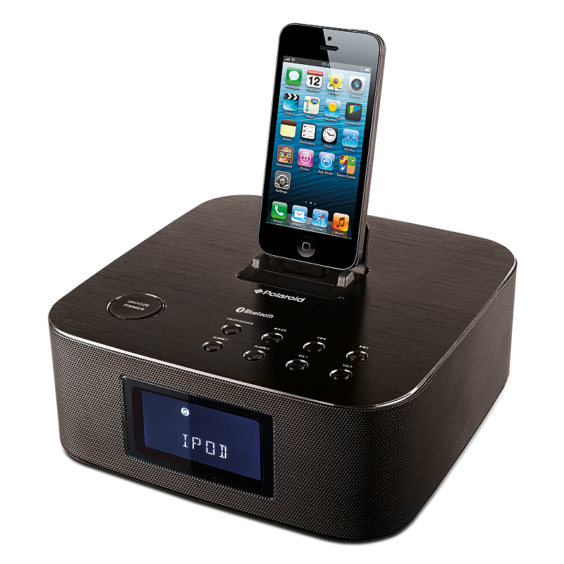 polaroid clock radio docking station with bluetooth for. Black Bedroom Furniture Sets. Home Design Ideas