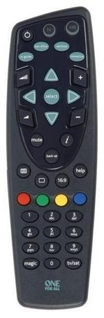 One For All URC1625 Universal Remote Control for TV & Satellite Box - Black
