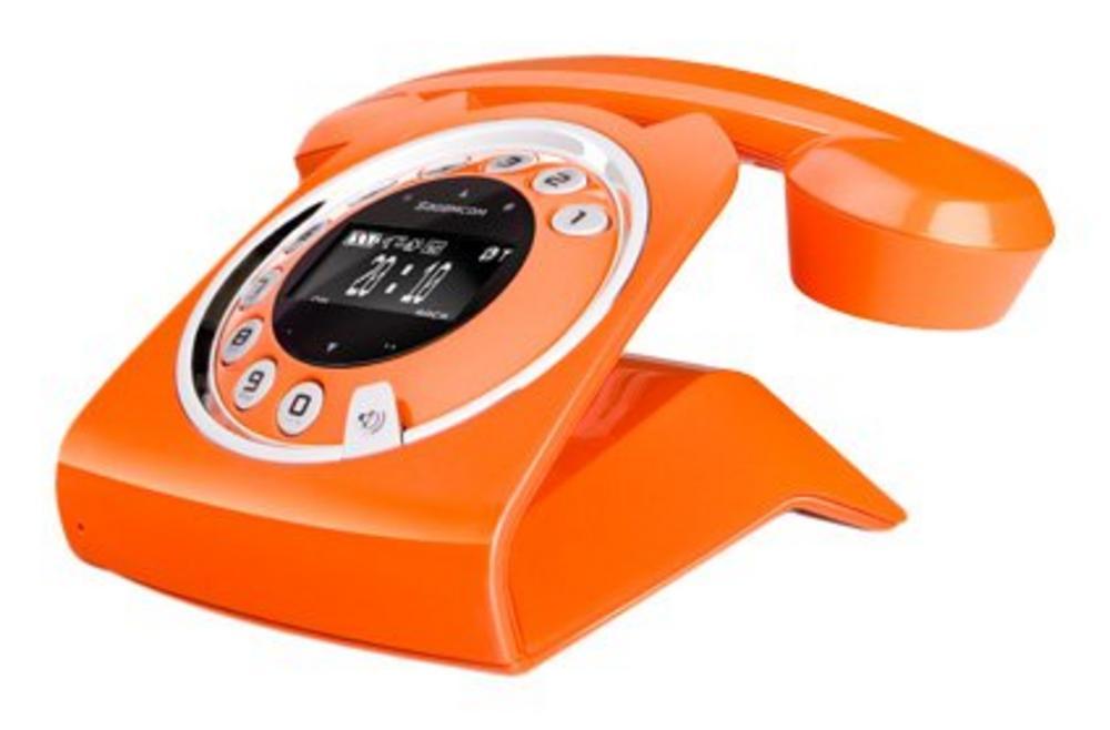 Sagemcom Sixty Retro Cordless Phone Sagemcom Sixty Capacitive Touch Cordless Telephone Answering Machine Orange