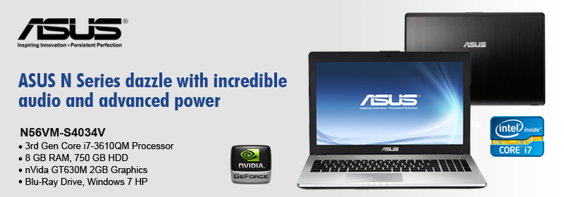 ASUS N56VM-S4034V Cheapest Core i7 laptop Intel Core i7-3610QM 8GB 750GB Blu-RAY Windows 7