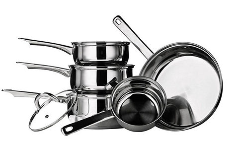Premier Housewares 17-PCs Kitchen Tools & Stainless Steel Cookware Saucepan Set