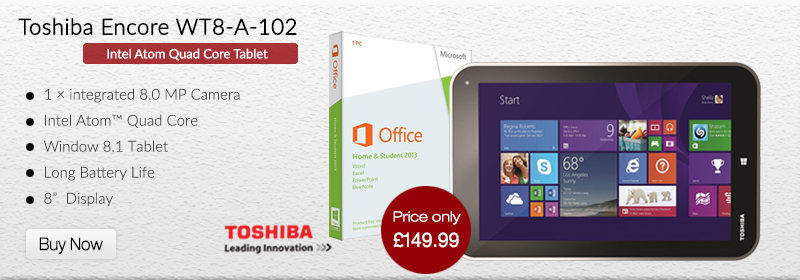 Toshiba Encore WT8-A-102 Quad Core Tablet Windows 8 + Free MS Office 2013 & Case