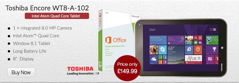 Toshiba Encore WT8-A-102 Quad Core Tablet Windows 8 + Free MS Office 2013 & Case