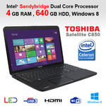 Toshiba C850-1C0 Cheapest Business Laptop Intel Dual Core 4GB 640GB HDMI Win 8