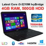 Toshiba C850-1K3 Cheapest Core i3 Laptop Intel 3120M 4GB 500GB HDMI DVD Windows8