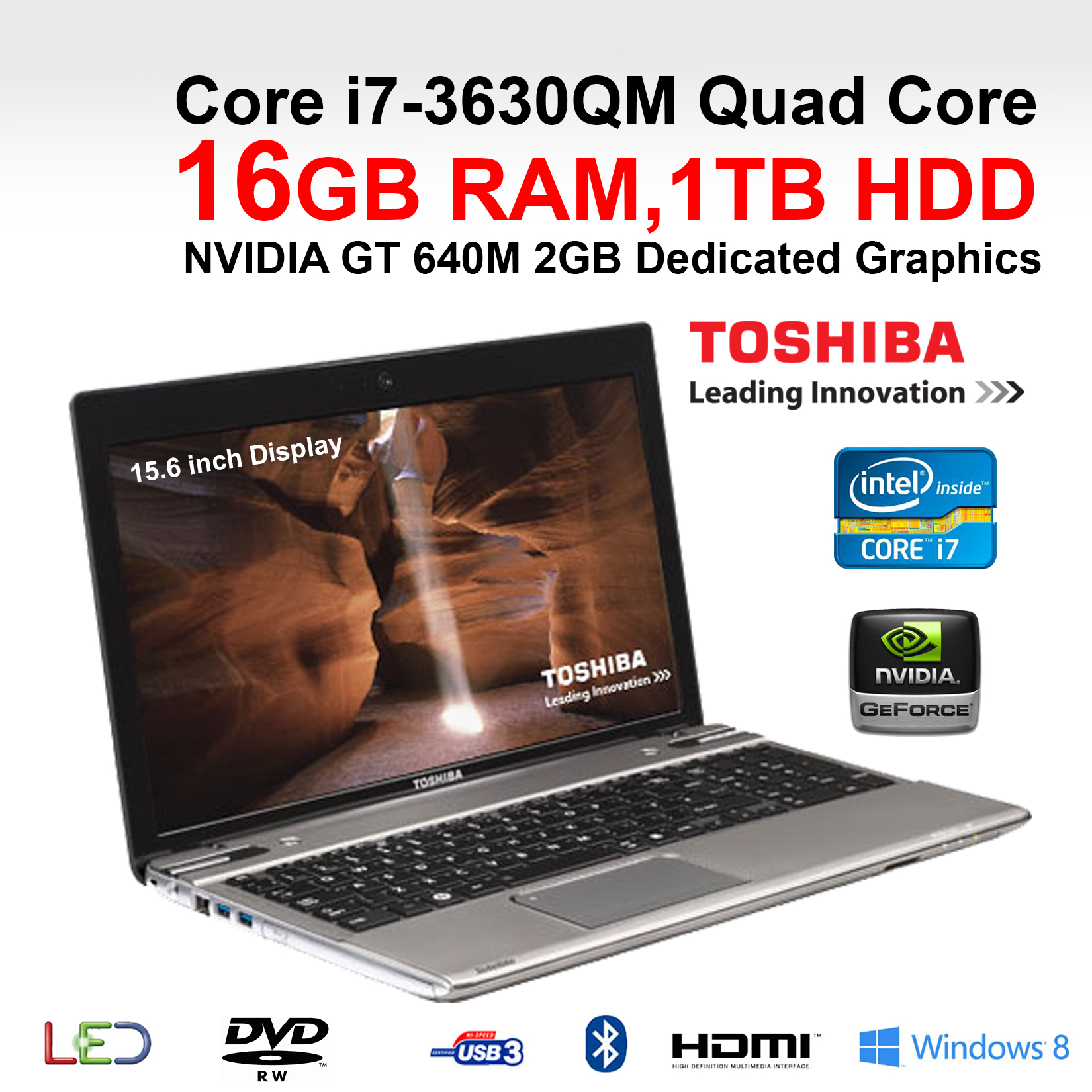 toshiba p855 34p gaming laptop core i7 3630qm quad core 16gb ram 1tb 15 6 win 8 ebay. Black Bedroom Furniture Sets. Home Design Ideas