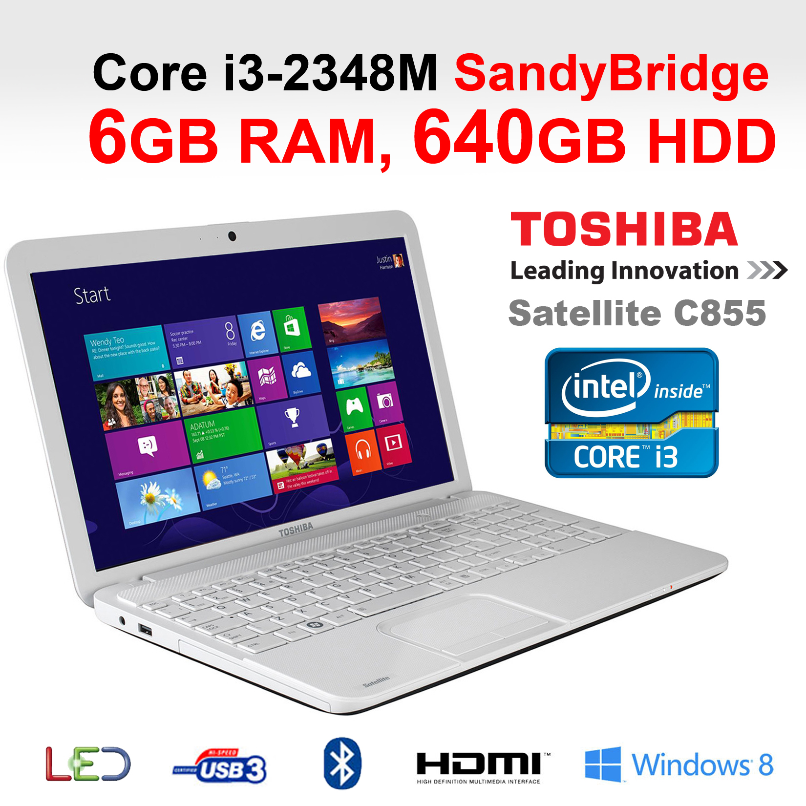 toshiba c855 2d1 white laptop core i3 laptop intel 2348m. Black Bedroom Furniture Sets. Home Design Ideas