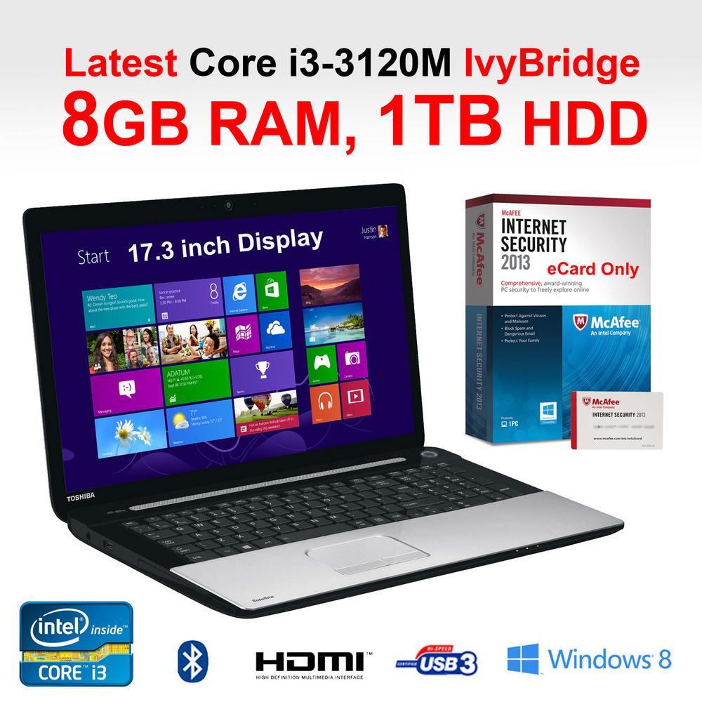 Toshiba C75-10P 17.3 inch Core i3 Laptop Core i3-3120M IvyBridge 8GB
