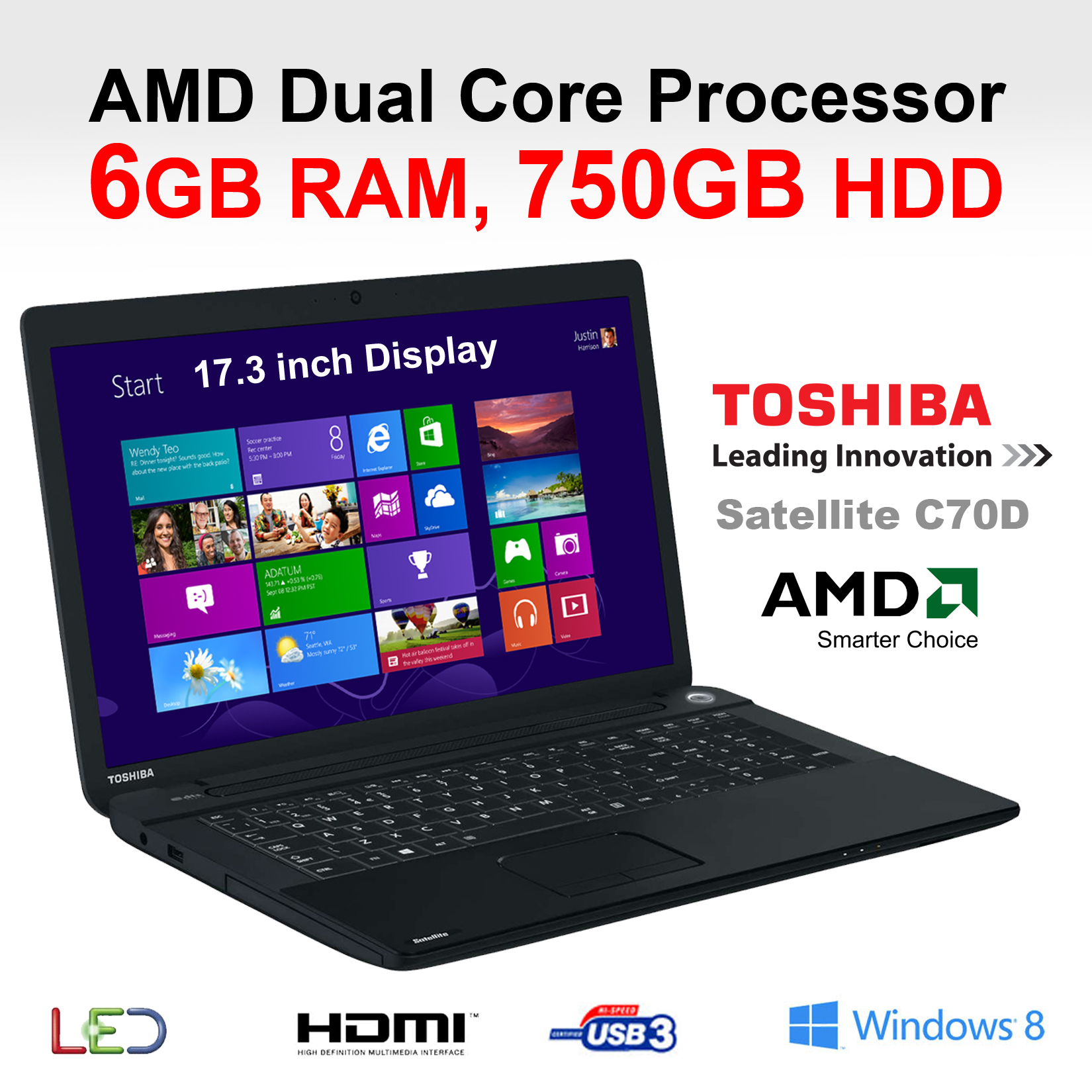Toshiba C70D-108 17.3-inch All rounder laptop AMD Dual Core E1-2100