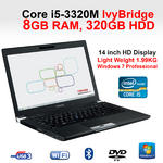 "Toshiba Tecra R940-1G1 Core i5 Laptop intel  i5-3320M 8GB 320GB 14"" DVD-RW USB 3"