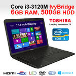 Toshiba Satellite C870-1H2 Gaming Laptop Core i3-3120M 6GB 500GB HDMI Windows 8