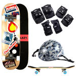 Plain Lazy Kids Uber Slacker Skateboard With Camo Helmet & Pad Protection Set