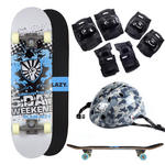 Plain Lazy Kids 5 Day Weekend Skateboard With Camo Helmet & Pad Protection Set