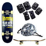Plain Lazy Kids Save Petrol Skateboard With CAMO HELMET & Pad Protection Set