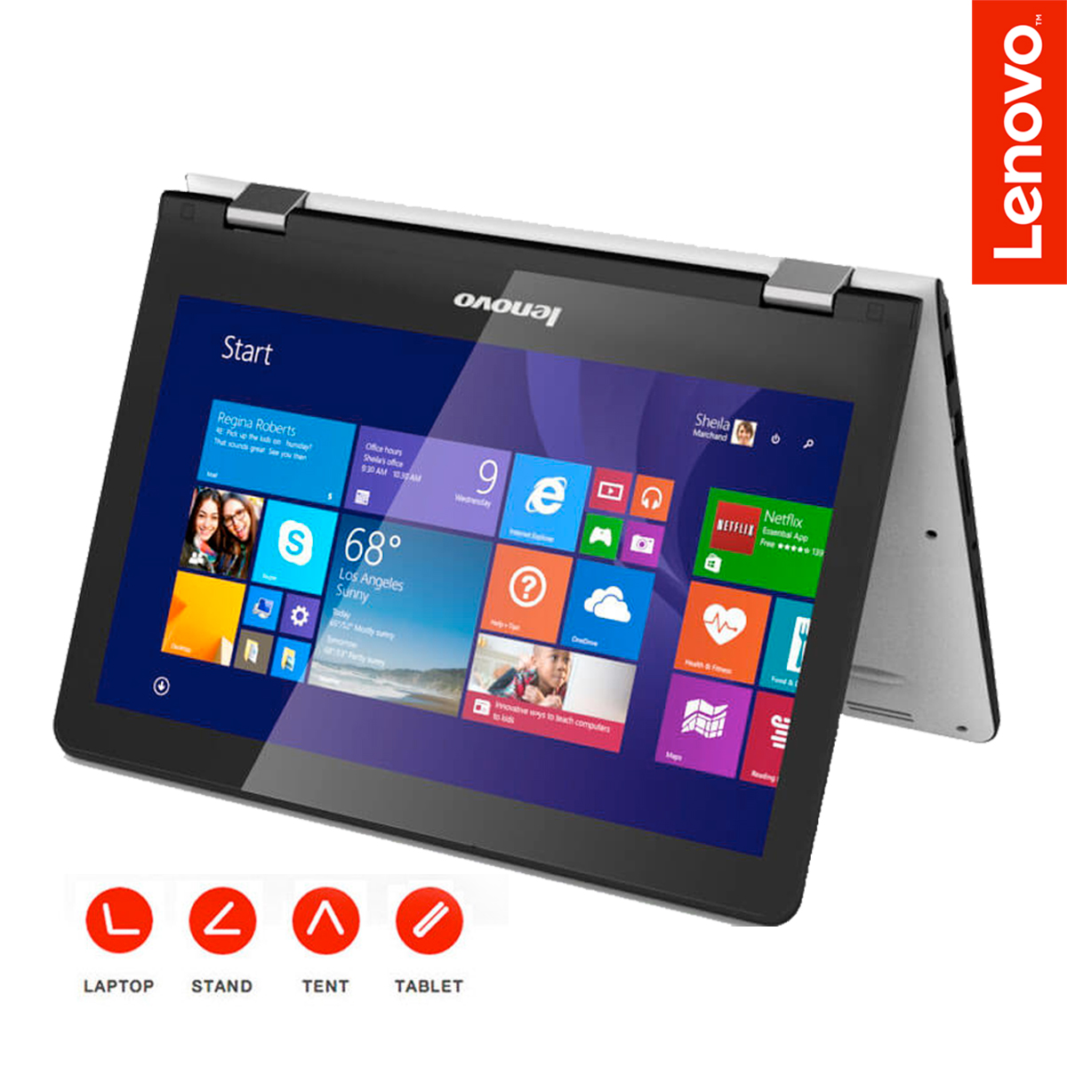lenovo yoga 300 11 6 touchscreen 2 in 1 laptop intel. Black Bedroom Furniture Sets. Home Design Ideas