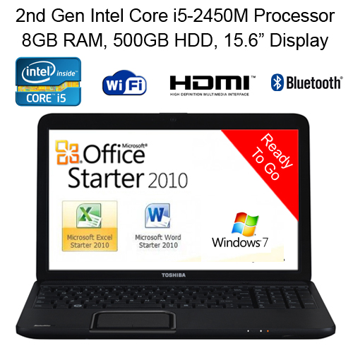 Cheap Laptop Toshiba C855 2nd Gen Intel i5-2450M 8GB 500GB 15.6