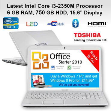 "Toshiba White Laptop C855-1HL Latest Intel i3-2350M 6GB RAM 750 GB HDD 15.6"" DVD Preview"