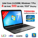 "Toshiba L850-1DZ Cheapest Core i3 Laptop Intel 2328M 4GB 500GB HDMI 15.6"" Win 7."
