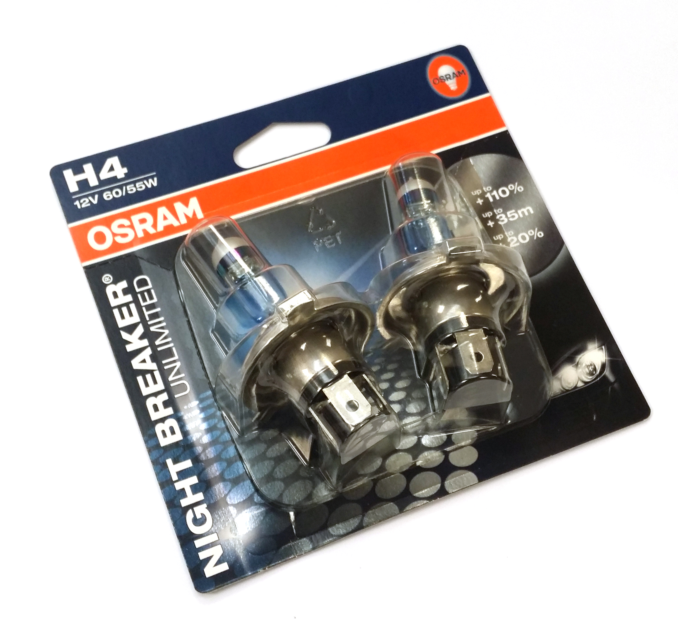 osram h4 nightbreaker unlimited headlight bulbs twin pack plus more 110 light ebay. Black Bedroom Furniture Sets. Home Design Ideas