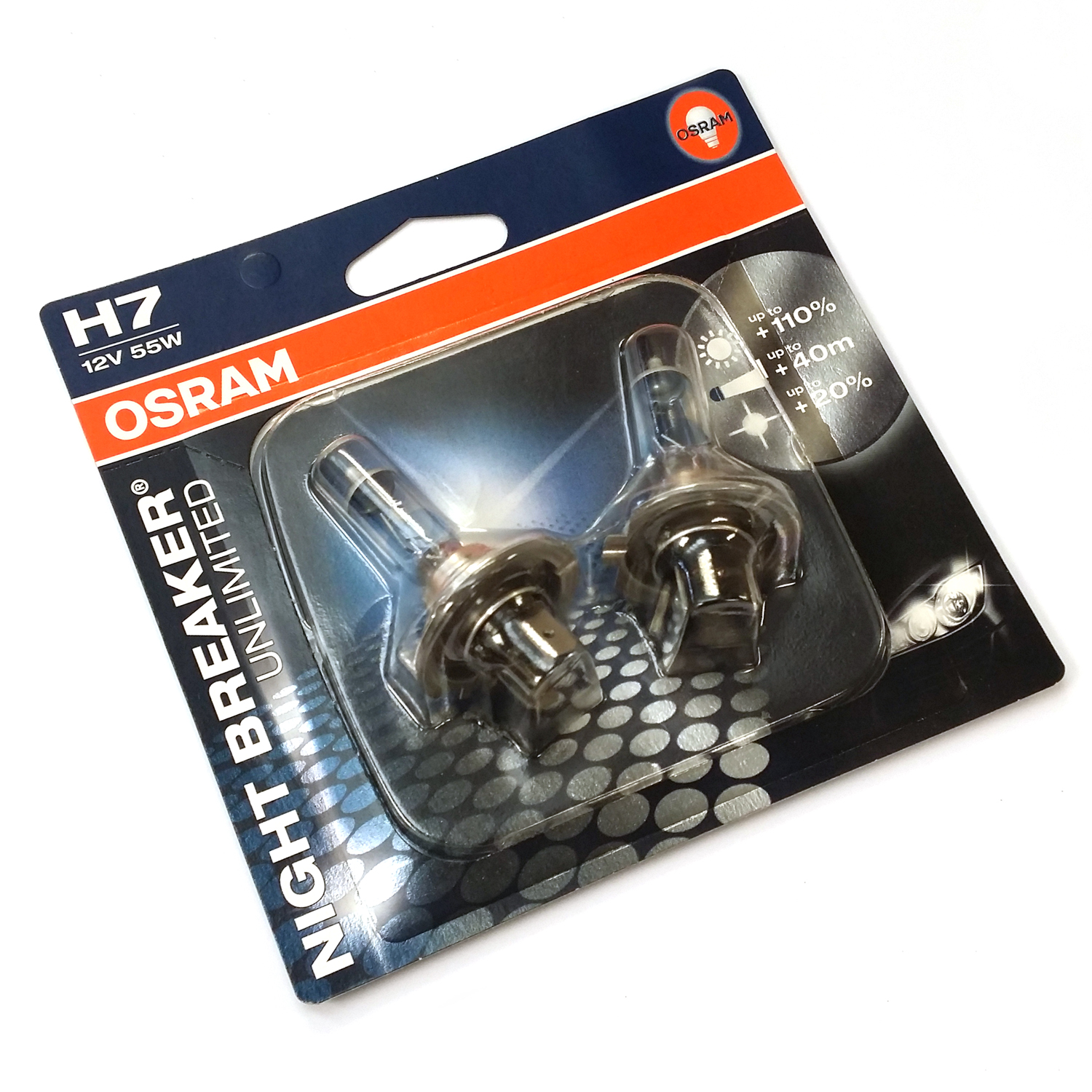 osram h7 nightbreaker unlimited headlight bulbs 110 di luce twin blister ebay. Black Bedroom Furniture Sets. Home Design Ideas