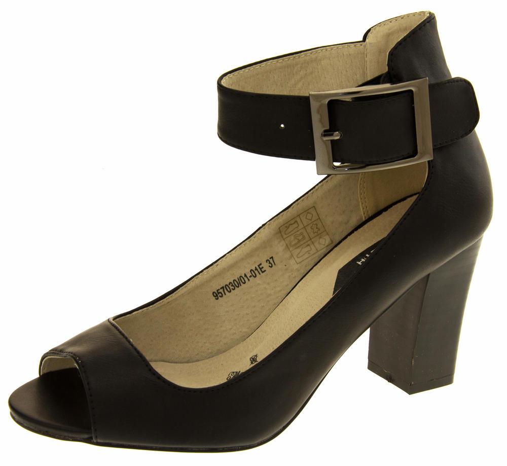 Womens Elisabeth Peep Toe Ankle Wrap Court Shoe