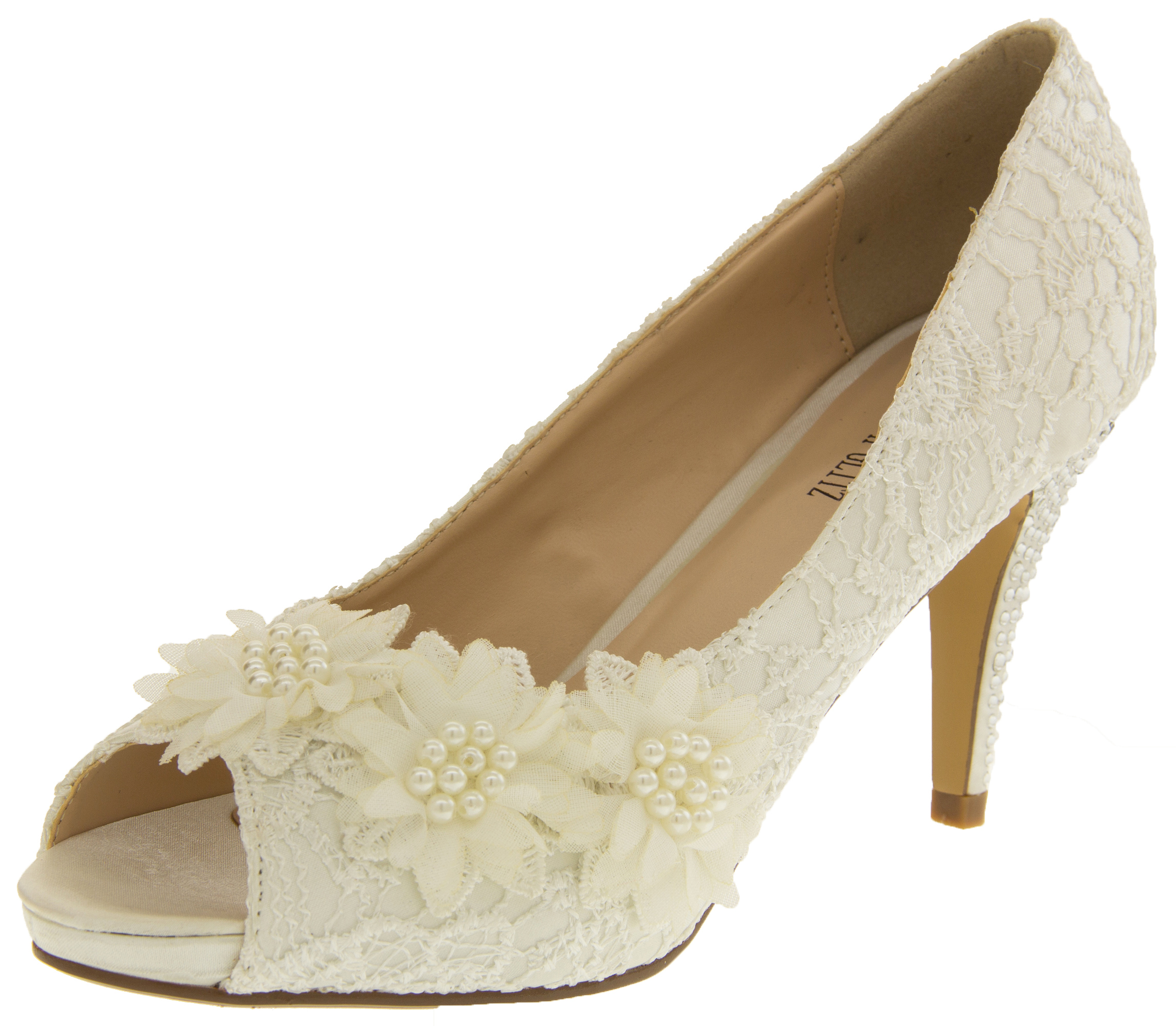 Ladies Ivory Bridal Heels Lace Satin Wedding Shoes