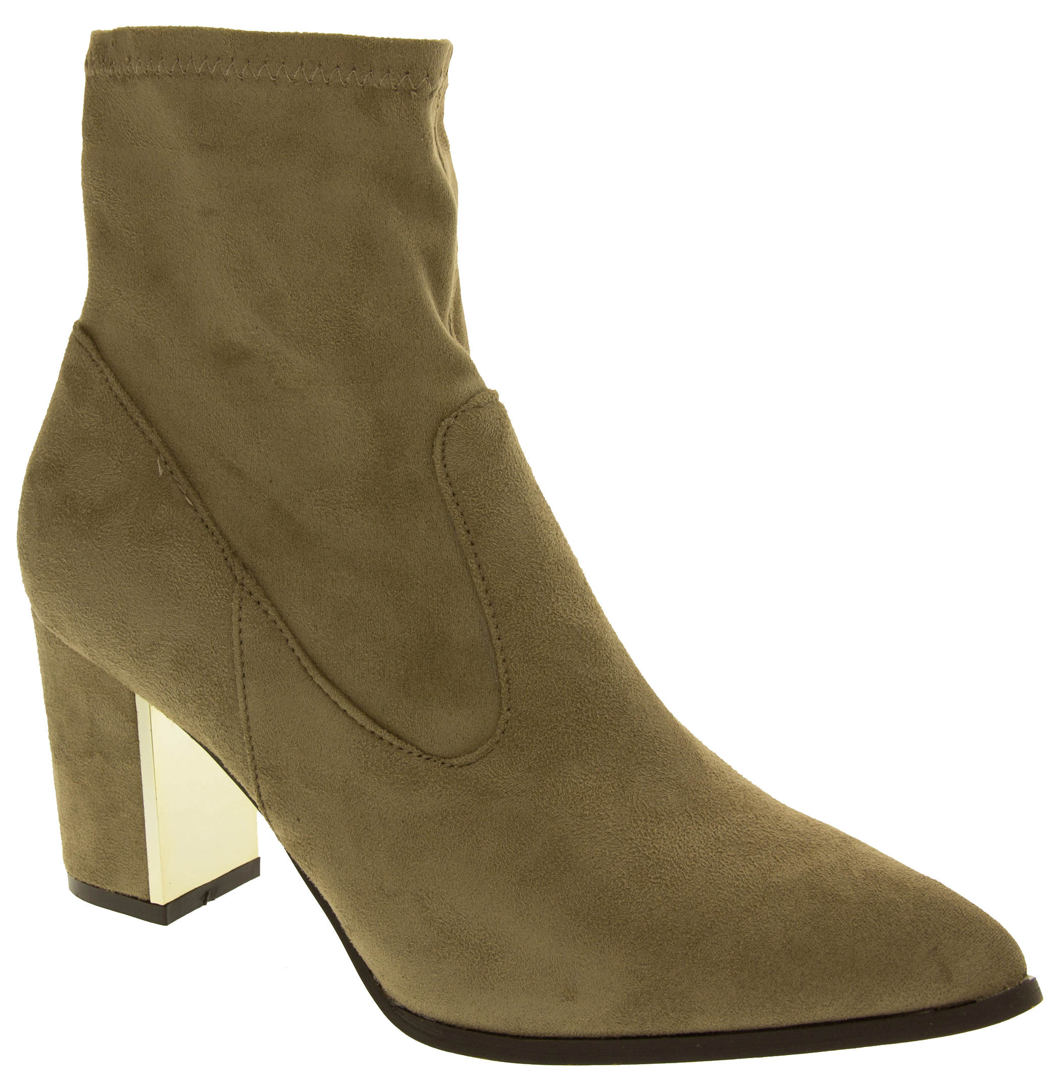 Womens Block Heel Ankle Boots Ladies Comfort Stretch Short ...