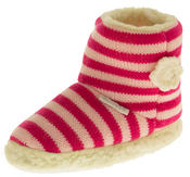 Girls De Fonseca Tavola Stripey Winter Boot Slippers Thumbnail 1