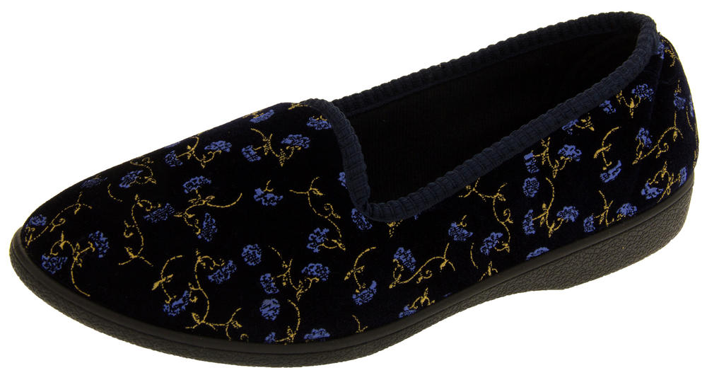 Womens Four Seasons Comfy Full Back Floral Slippers