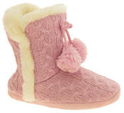 Ladies Dunlop Eleanor Cable Knit Faux Fur Slipper Boot Womens Comfy Slouch Boots Thumbnail 2